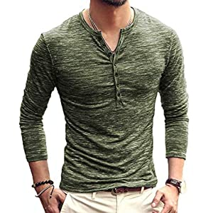 MLANM Mens Casual Slim Fit Basic Henley Long/Short Sleeve Fashion T-Shirt