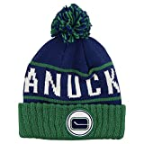 """Mitchell & Ness NHL """"Between"""" Ball Top Knit Beanie Hat (Vancouver Canucks)"""