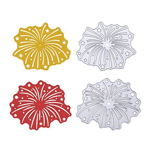 Whitelotous 2pcs Firework Cutting Dies Stencil Scrapbooking Card Paper Embossing Craft ()