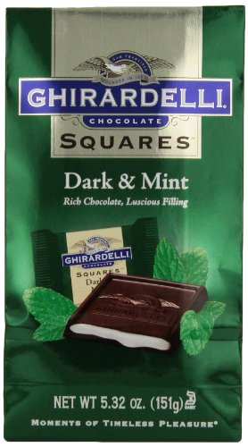 Ghirardelli Chocolate Squares, Dark and Mint Filled, 5.32 oz., (Pack of 6) (Chocolate Filled Mints)