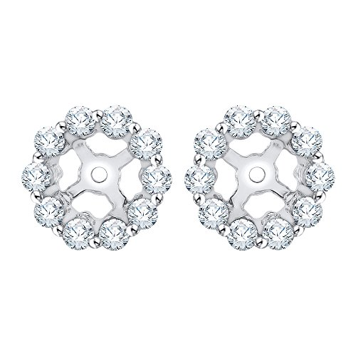 Diamond Earring Jackets in 14K White Gold (3/8 cttw) (Color IJ, Clarity I1) by KATARINA (Image #4)