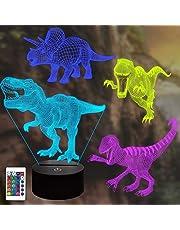 Dinosaurus 3D lamp(4 patroon), CooPark dino Illusion Hologram nachtlampje met 16 kleuren veranderen Afstandsbediening Dimmerfunctie, Dino thema Slaapkamerdecoratie Cadeaus voor jongens meisjes