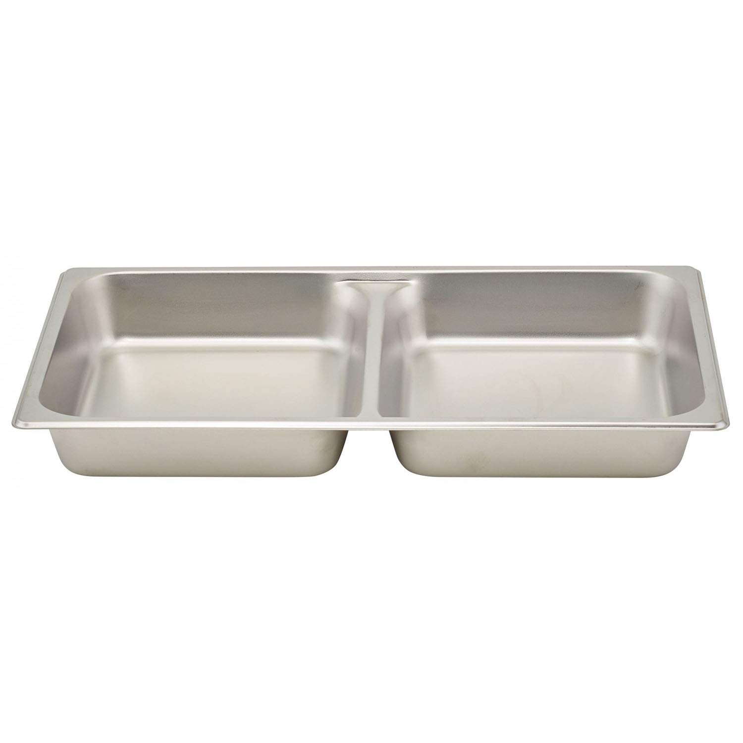 Tiger Chef Divided Full-Size 18 x 26 inch Stainless Steel Steam Table Pan - 2-1/2 inch Deep 24 Gauge Stainless Steel 2 Pack