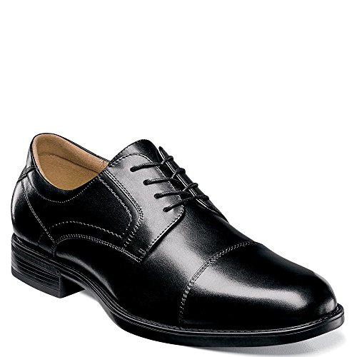 Florsheim Men's Midtown Cap Toe Oxford,Black Smooth Leather,US 11 D