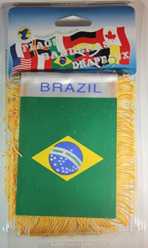 Souvenir Destiny Brazil Flag Rear View Mirror Mini Banner 4