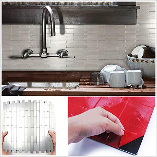 HomeyStyle Subway Stripe Puzzle Peel and Stick Tile Metal Backsplash for Kitchen Bathroom Stove Walls Self-Adhesive Aluminum Surface Metal Mosaic Tiles 3D Wall Sticker,Pack of 5 Tiles 12