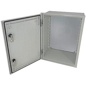 Altelix 16x12x8 FRP Fiberglass NEMA 3X Box Weatherproof Enclosure with Hinged Lid & Quarter-Turn Latches, Blank Steel Equipment Mounting Plate
