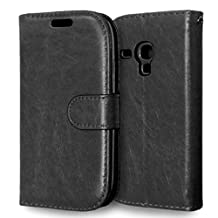 MOONCASE Case for Samsung Galaxy S3 Mini I8190 Folio Flip Leather Wallet Card Slot and Foldable Stand Feature Pouch Cover Black