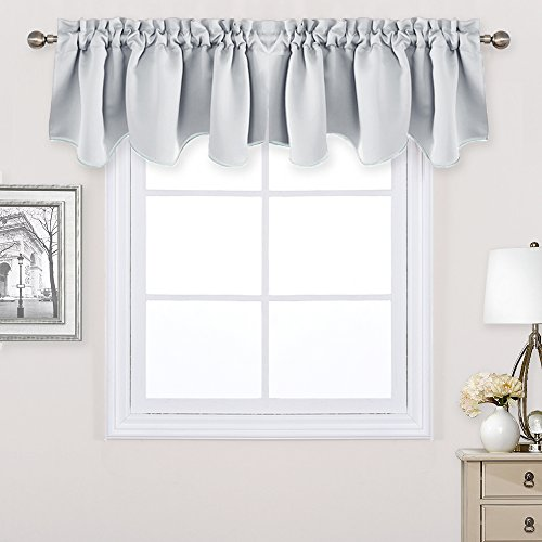 Greyish White Window Scalloped Valances - PONY DANCE Thermal Insulated Blackout Window Treatments Valance Home Decorative Scalloped Curtain Valance for Kitchen,42 inch wide by 18 inch long,2 Pieces