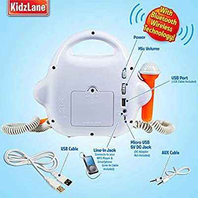 Kids MP3 Player Karaoke Machine 2 Microphone, Built in Music Storage, Bluetooth/MP3/AUX Connection: Toys & Games