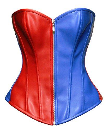 Bslingerie Womens Faux Leather Zipper Front Bustier Corset Top (XXL, Blue)