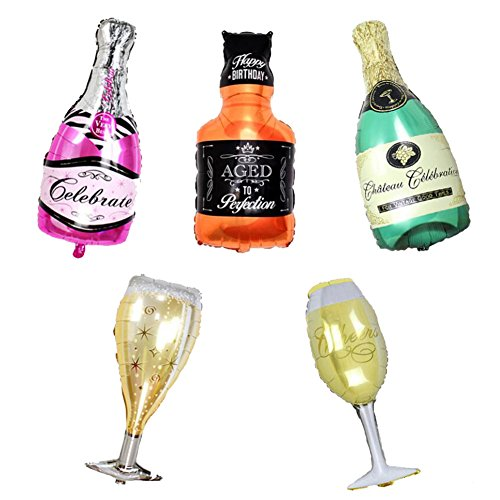 ED-Lumos Set of 5 Pack Giant Wine Bottle Glasses Reusable Helium Balloons for Birthday Party Decoration Children Kids Gift -