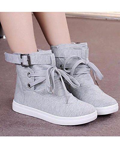 Minetom Mujer Otoño E Invierno Botas Hebilla Sólida Lona High Top Zapatos Cargadores Cómodo Botines Gris