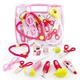 electronic doctor - SONi Doctor Kit Pretend and Play Medical Toys Set with Electronic Stethoscope Carry for Boys and Girls–10pcs Pack in Carry Case-Pink