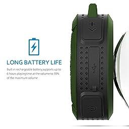 VicTsing Shower Speaker, Wireless Waterproof Speaker with 5W Driver, Suction Cup, Buit-in Mic, Hands-Free Speakerphone - Army Green