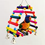 DEHEOBI Bird Perches Parrot Triangle Swing Stand Cage Toys Colorful Hammock Hanging Wood Stand Bite Toys Climbing Ladder with Bell Pendant Decor Cockatiels Pet Supplies