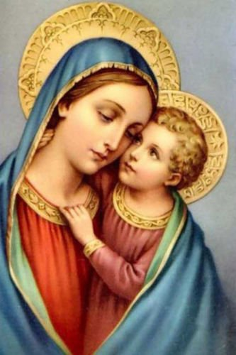 100% Hand Painted God Baby Jesus Christ with Mother Mary Christian Canvas Oil Painting for Home Wall Art by Well Known Artist, Framed, Ready to Hang