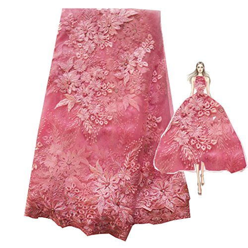 Lace Fabrics Nigerian French Fabric Embroidered and Rhinestones Cord Lace Beaded Tulle Fabric 5 Yards (5 yards, pink) (French Fabric Material)
