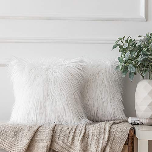 Ashler Pack of 2 Decorative Luxury Style White Faux Fur Throw Pillow Case Cushion Cover 20 x 20 Inches 50 x 50 cm (White Shag Pillow)
