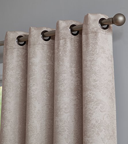 "AsaTex Loretta - Embossed Thermal Weaved Blackout Grommet Curtains - Room Darkening & Noise Reduction Fabric - Blocks up to 97% of Sunlight - Premium Draperies (Pair, 54"" W x 84"" L, Ivory) - SLEEPING EXPERIENCE SUPREME: Our sleek embossed curtains will take your home dŽcor to the next level while giving you much needed sunlight and sound blocking to let you enjoy the best sleep of your life. The premium blackout weave fabric keeps most sunlight and exterior noise from reaching into your room or your babyÕs room and allows you to get a good nightÕs sleep. PREMIUM GRADE SUNLIGHT PROTECTION: Our curtain panels are made out of 100% high quality Polyester that is ultra-durable. Our unique fabric is a blackout weave that will keep sunlight from reaching into your room and the thermal quality of the fabric will keep your home hot in the winter and cold in the summer! THE PRACTICAL CHOICE: Package includes: 1 panel 54 x 84 inches, with 8 grommets. You can also visit our page and discover even more size and color options so that your purchase is tailor-made to your needs! Find the perfect curtains at Loretta. - living-room-soft-furnishings, living-room, draperies-curtains-shades - 51lJqaap9vL -"