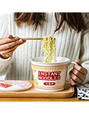 Instant Noodle Bowl Ceramic with Cover Creative Ramen Soup Bowl Mug with Lid 800mL Dishwasher and Microwave