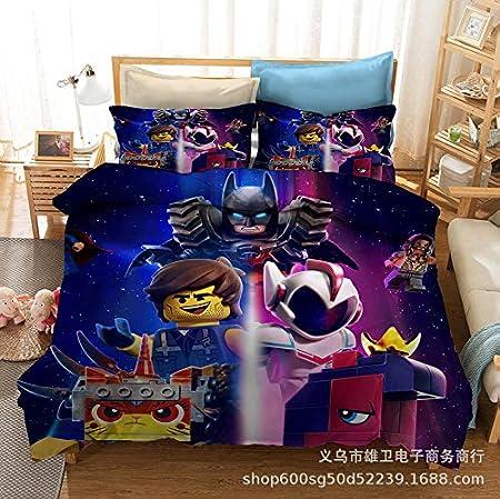 Amswsi Cartoon Hero Series Bat Printing impresión Digital 3D Ropa de Cama Textiles para el hogar Ropa de Cama de Tres Piezas Funda de edredón Halloween Adecuado para el hogar Schulmaterial