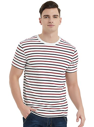 1e0b53b7b44 Zengjo Essential Stripes T-Shirts Comfort Short-Sleeve Crew-Neck Striped Tee  Top