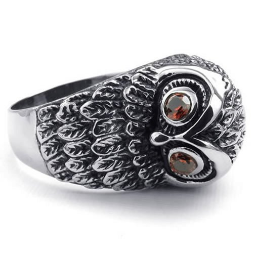 stainless steel owl ring - 3