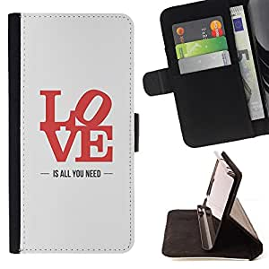 - love is all you need lyrics red grey - - Prima caja de la PU billetera de cuero con ranuras para tarjetas, efectivo desmontable correa para l Funny HouseFOR Apple Iphone 5C