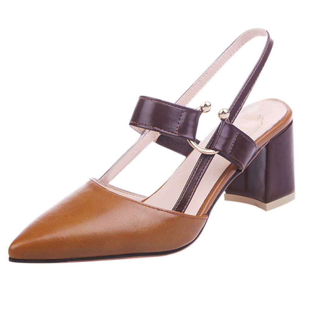 Escarpins Femmes Été, Manadlian Sandales à Talon Carré Chaussures à Haut Talon de 5cm pour Mariage Soirée Fête Souliers Pointus Chaussons