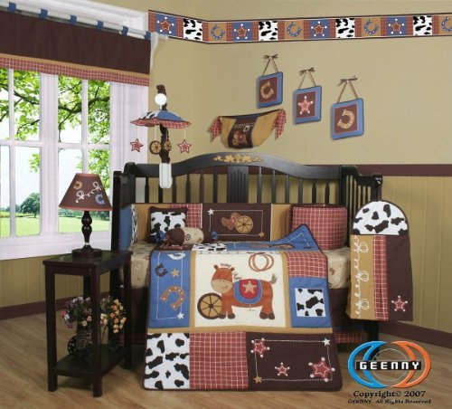 Buy Cheap GEENNY Boutique Crib Bedding Set, Horse Western Cowboy, 13 Piece