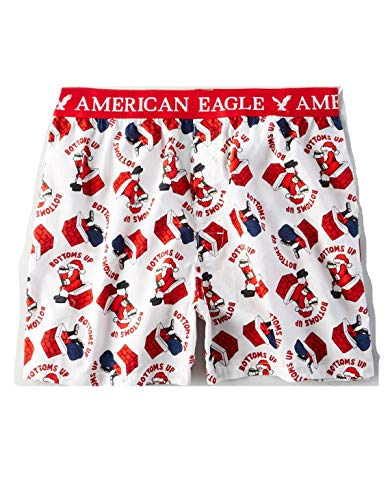 American Eagle White Shorts - American Eagle Outfitters AEO Men's Christmas Santa Bottoms Up Boxer Shorts XX-Large White