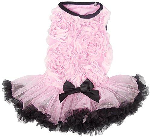 PAWPATU Soutache Ruffle Dress for Dogs, Small, Pink/Black ()
