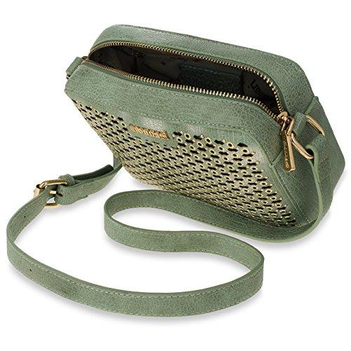 2e0d869e6a8ec Monnari Schultertasche Damen Tasche Umhängetasche Glamour Nieten grau  silber  Amazon.de  Schuhe   Handtaschen