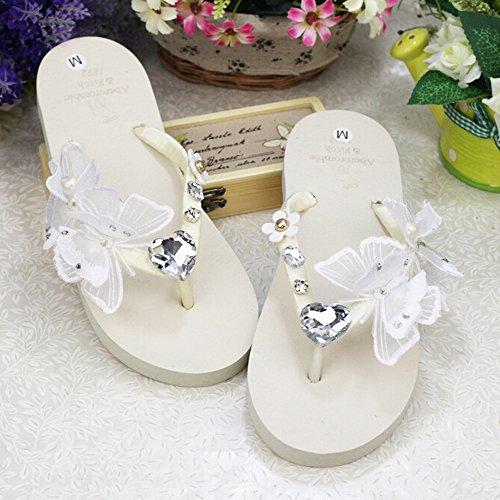 (KAKA(TM Women's Fashion Rhinestone Glitter Studded Crystal Flower Thong Sandals Flip Flops Sandals¨White Size 39-40)