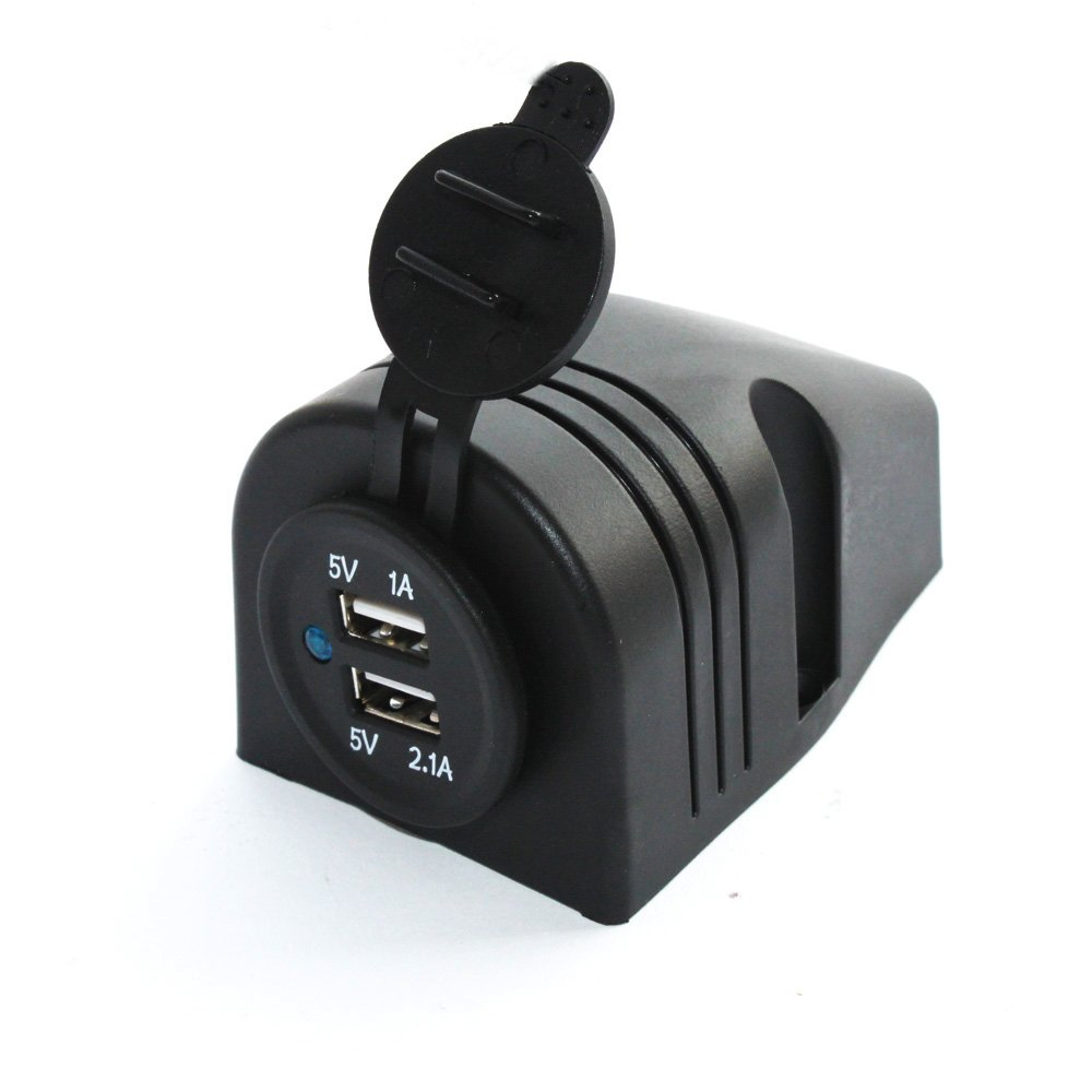X-Haibei Dual USB Charger 5v 2.1/1 Amp Black Surface Mount Marine