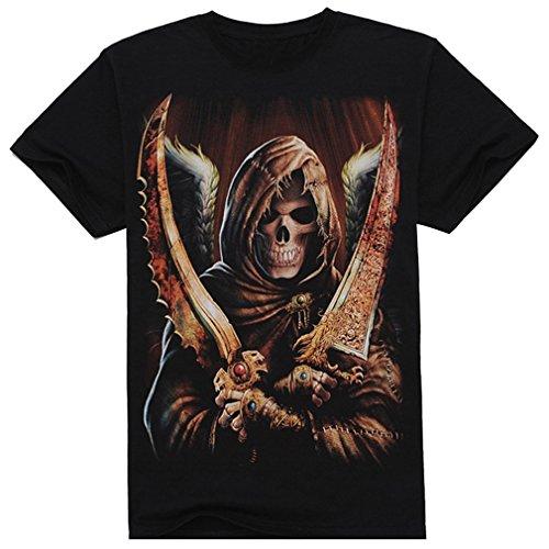 Ninimour Men skull 3D Digital Print T-Shirt Top Tee (XXXL, Dagger skull)