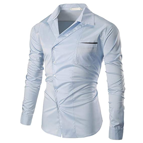 Hombres Camisetas,2018 Retro Moda Hombre Camisas Solid Manga Larga Slim Fit Casual de algodón