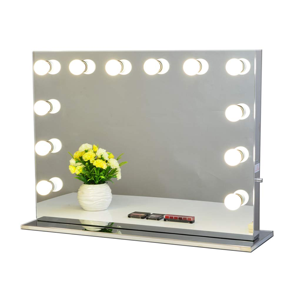 Chende Black Hollywood Lighted Makeup Vanity Mirror Light Tabletop or Wall Mounted Vanity Makeup Dressing Table Vanity Set Mirrors with Dimmer LED Bulbs Included 8065, Black