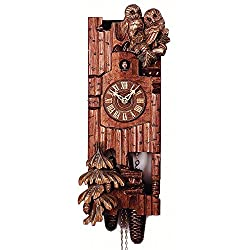 Black Forest VDS Certified Hand Carved 8 Day Cuckoo Clock with Owls by Rombach and Haas (Extra 20% Off Sale Price - Code romba20)