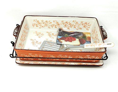 Casserole Server (Temp-tations 4 Qt Baker Casserole Dish (13x9) w/ Cookie Sheet/Lid-It, Cover, Server, & Rack (Floral Lace Spice))