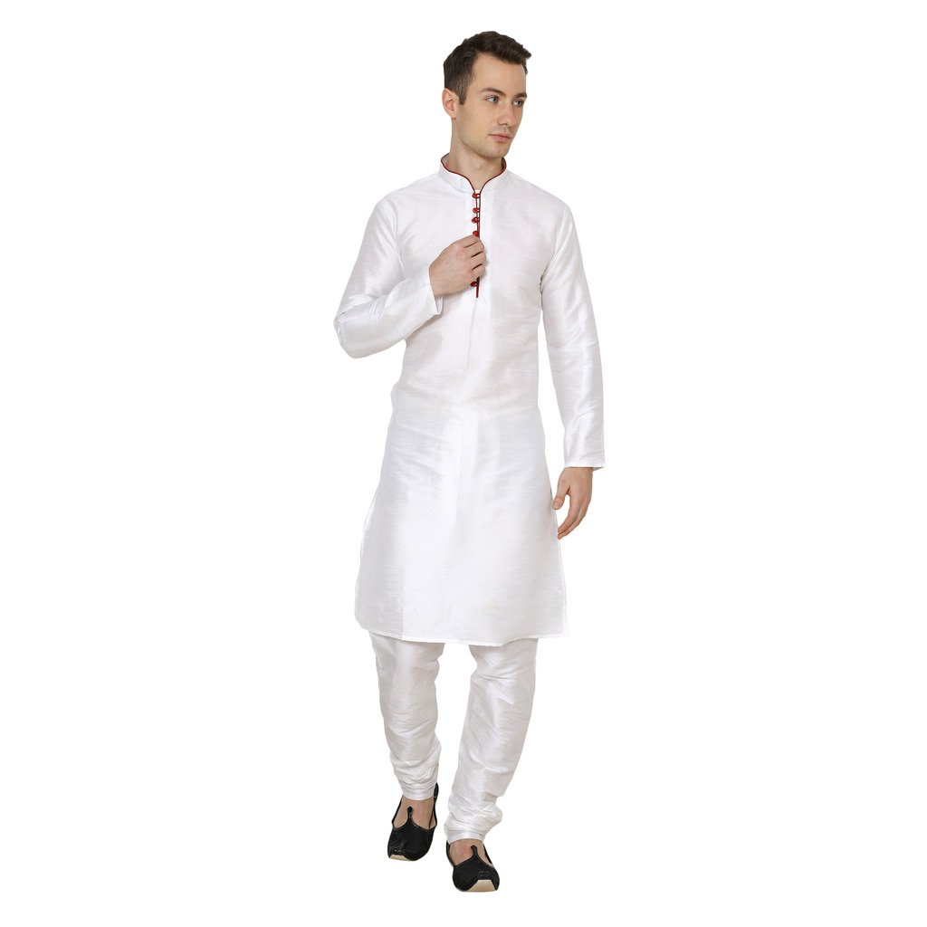 Royal Kurta Men's Cotton Silk Kurta Churidar 701-BADA-MOTI-WHITE