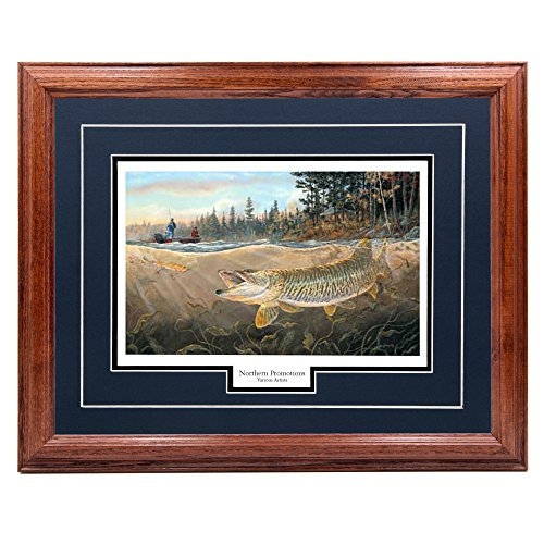 (Northern Promotions, LLC. Muskie Bay - Terry Doughty, Muskie Forest Lake Fishing Classic Wall Art Print for Home/Office/Hotel/Cabin/Gift, 17 x 21 in, Blue Mat/Dark Oak Frame - More Frames Available )
