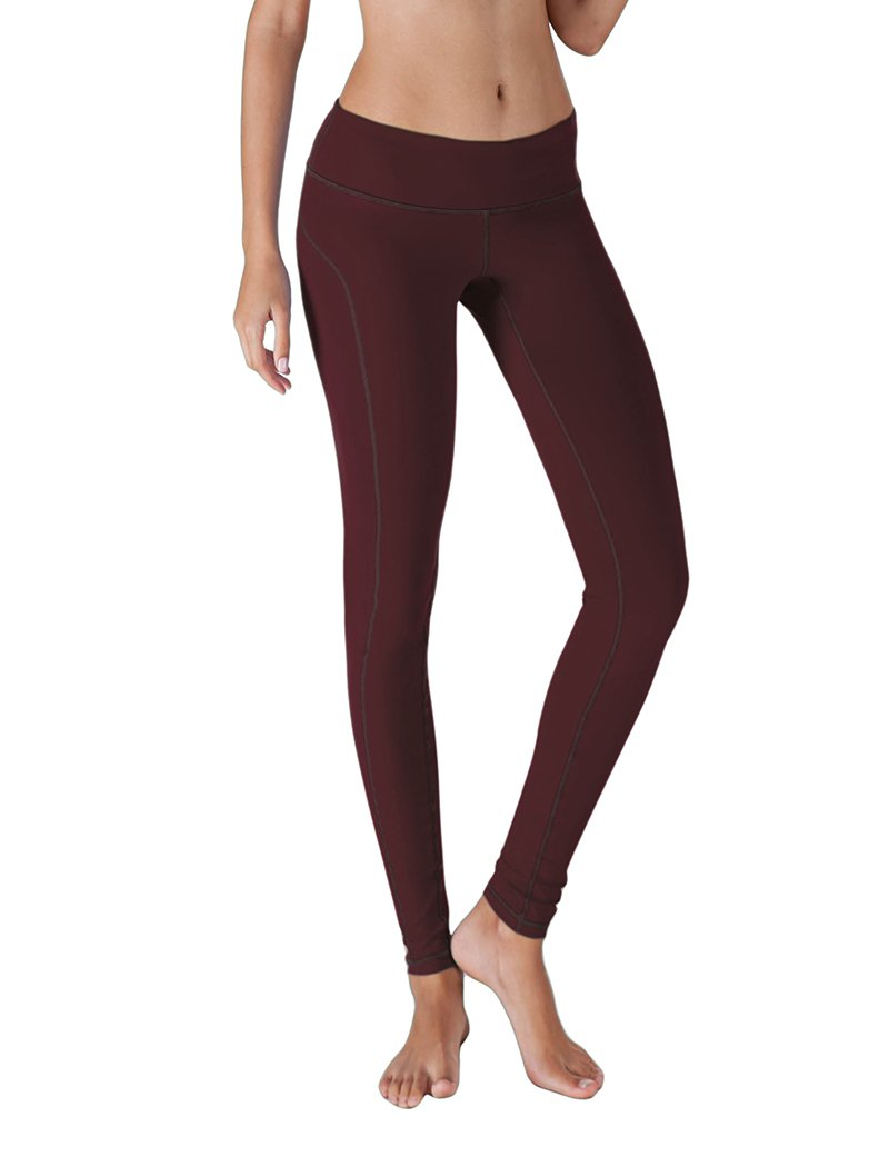 5076d755846b9 Galleon - Yoga Reflex Active Women's Mid Waist Sports Running Yoga Pants  Workout Leggings Pants , Maroon , XX-Large