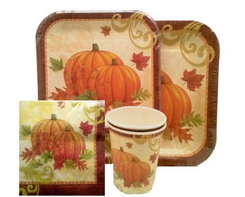 Paper Dessert Plates Harvest - Harvest ~ Fall Leaves ~ Paper Dinnerware Set ~ Dinner Plates, Dessert Plates, Cups & Napkins by Momentum