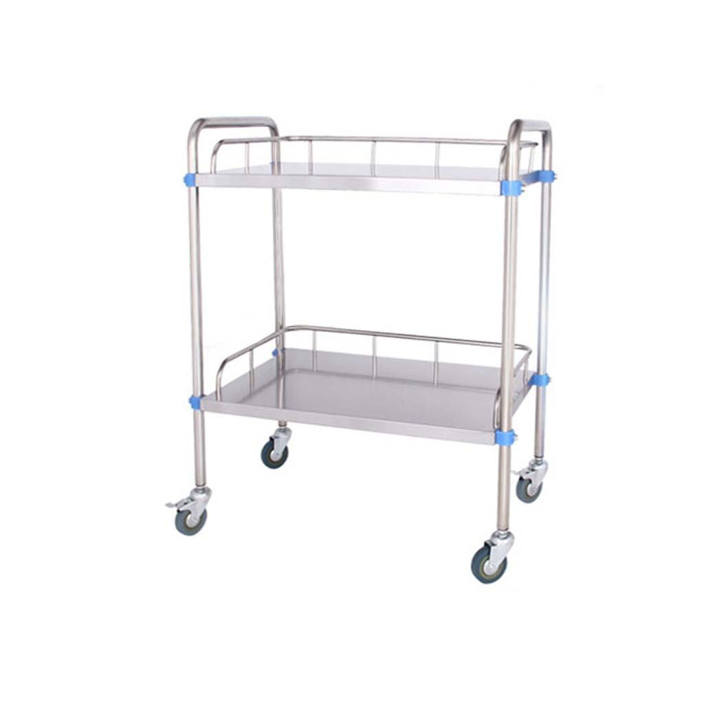 Jian E Trolley - Stainless Steel Tray Trolley Care Dressing Medical Cart Clinic Beauty Double Stroller (Size : 804886cm)