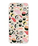iPhone SE, DECO FAIRY Ultra Slim Translucent Silicone Clear Case Gel Cover for Apple - Sushi Pandemonium foodie