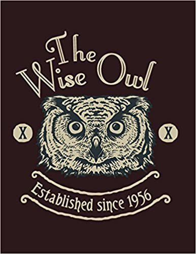 The Wise Owl On Dark Brown Cover And Dot Graph Line Sketch Pages Extra Large 85 X 11 Inches 110 White Paper Draw Paint