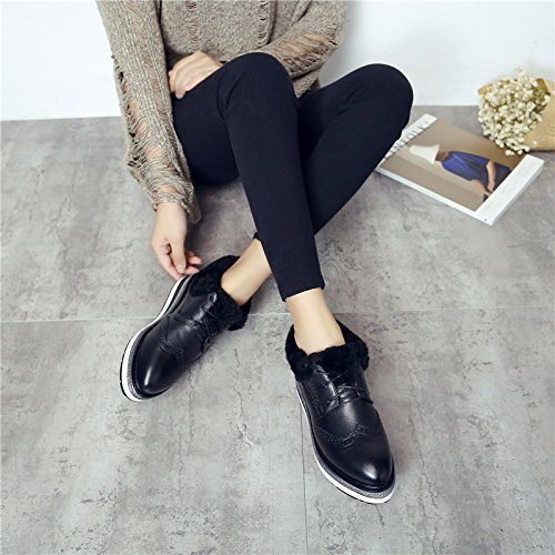 NSXZ 2016 winter new Korean version of the first layer of cowhide wool wool shoes female mattress with low-end Bullock low shoes BLACK-120W qdCYRw2