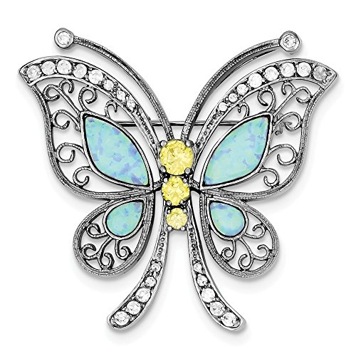 - Jewelry Adviser Sterling Silver Rhodium-plated Created Opal with Yellow and Clear CZ Butter